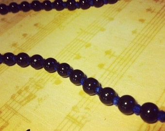 Black Necklace With Blue Spacers