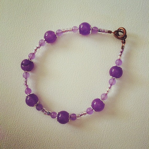 Natural Alexandrite Necklace: Lilac Alexandrite And Natural Amethyst Bracelet B232