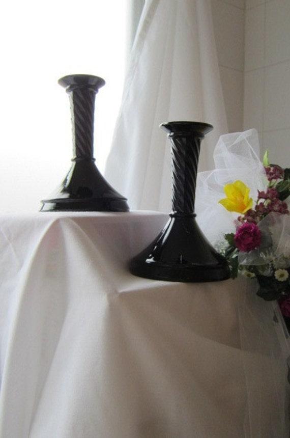 Mid Century Modern Industrial Retro Madmen Black Ebony Glass Candlesticks