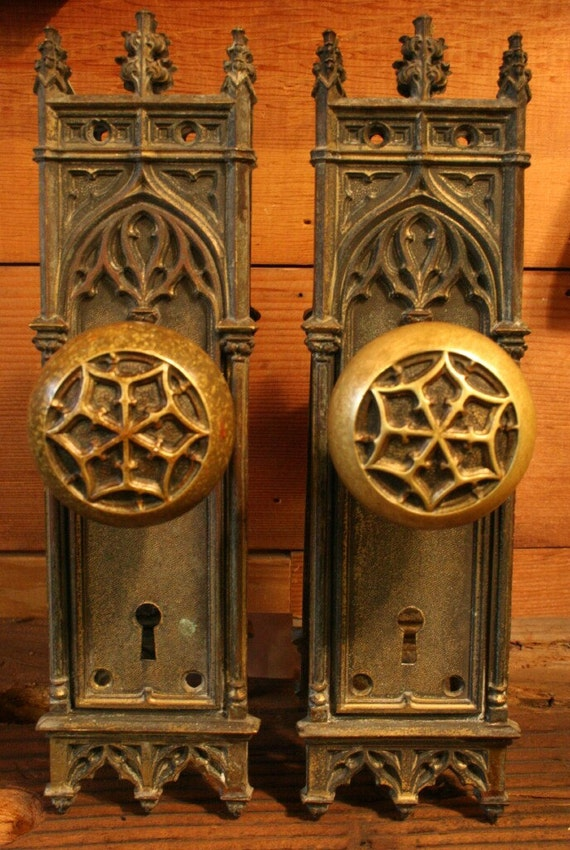 Reserved For Deana 1890s Antique Brass Gothic Doorknob Set
