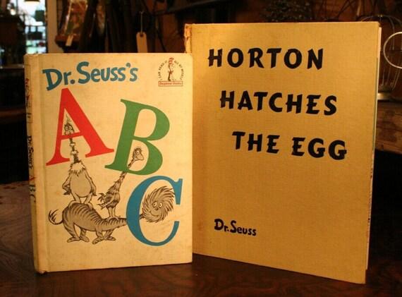 Vintage Dr. Seuss Books - 1963 Dr Seuss's ABC & 1940 Horton Hatches The Egg