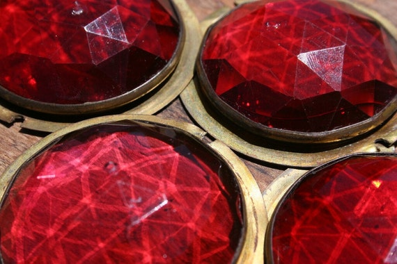 RESERVED for Vincent - 4 Victorian Red Glass Jewels in Brass Frame- Great for Jewelry, Craft Supplies or Restoration Project