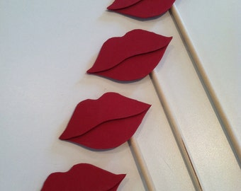 LIP STICKS Set of 5 red hand cut lip sticks