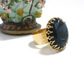 Montana Blue Ring, Vintage 25mm Beautiful Big Faceted