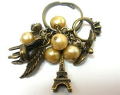 Pearls and Charms Ring, Adjustable, Antique Brass, Wings, Eiffel Tower, Rose, Chair, Charms