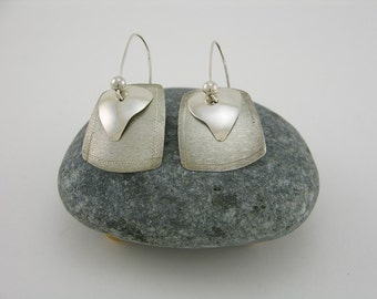 Silver Dangling Earrings with Silver Bead and Hand Formed Wires