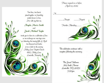 100 Personalized Custom Peacock Swirl Bridal Wedding Ceremony Invitations Cards Set