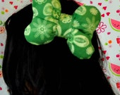 big lemon green bow light green  floral print fabric stuffed butterfly shape minnie mouse inspired large clip accessory.