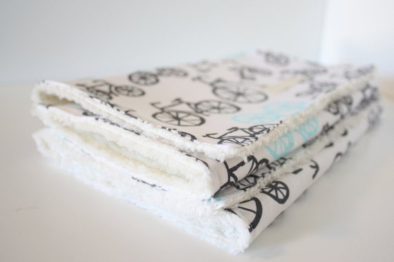 Gender Neutral Baby Burp Cloths - Aqua and Gray Bicycles - Set of 2