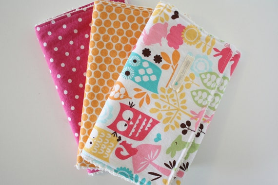 Baby Girl Burp Cloths - Orange, Pink, and Forest Life - Set of 3