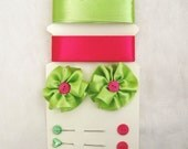 Ribbon Flower Button Pack-Lime Green Hot pink satin ribbon with coordinating ribbon flowers and pearl pins