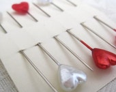 Heart Pearl Pins - Six red and white heart pearl pins