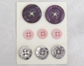 Violet pink Sew on Button Kit - Dark violet light peachy pink metallic silver buttons