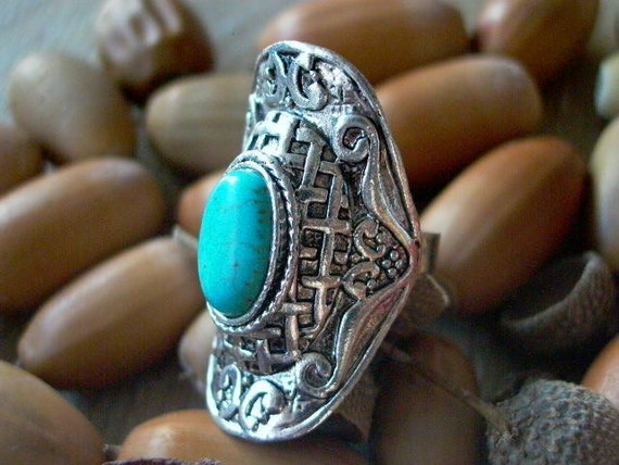 Turquoise Ring Adjustable Silver