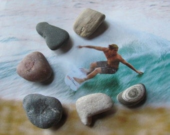 Natural Beach Rocks Refrigerator Magnet Set
