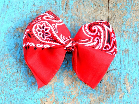 Red Handkerchief Hair Bow