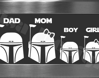 Your choice of 4 Star Wars Boba Fett inspired Family decals / Please READ description for ordering instructions - Car decal - Family decal
