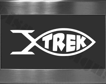 "Star Trek inspired ""Trekky Fish"" vinyl decal - Star Trek decal - Car decal - Macbook decal - Darwin decal"