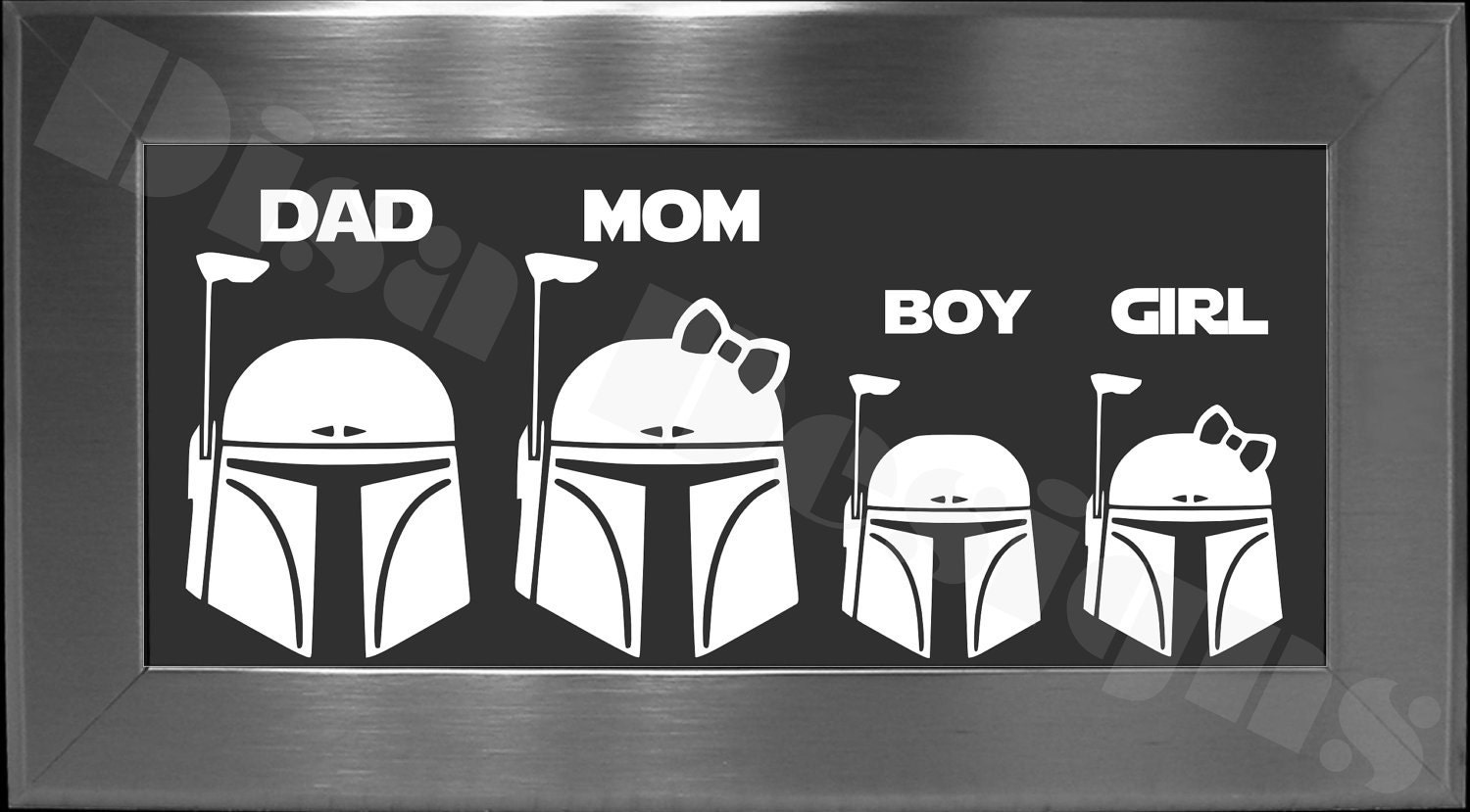 Your Choice Of  Star Wars Boba Fett Inspired Family Decals - Star wars family car decals