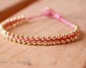 Woven Beaded Friendship Bracelet--FUCHSIA