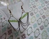 Chandelier Earrings - Antique Green Czech Glass