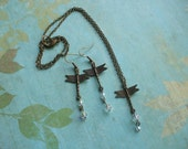 Bronze Swarovski Crystal Dragonfly Earring and Necklace Set