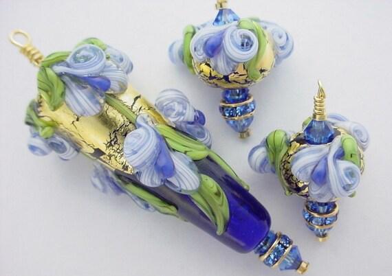 Monte Verdi Lampwork Beads- SRA - Oceans Tapered- Handmade Floral Focal with Bonus - Made To Order