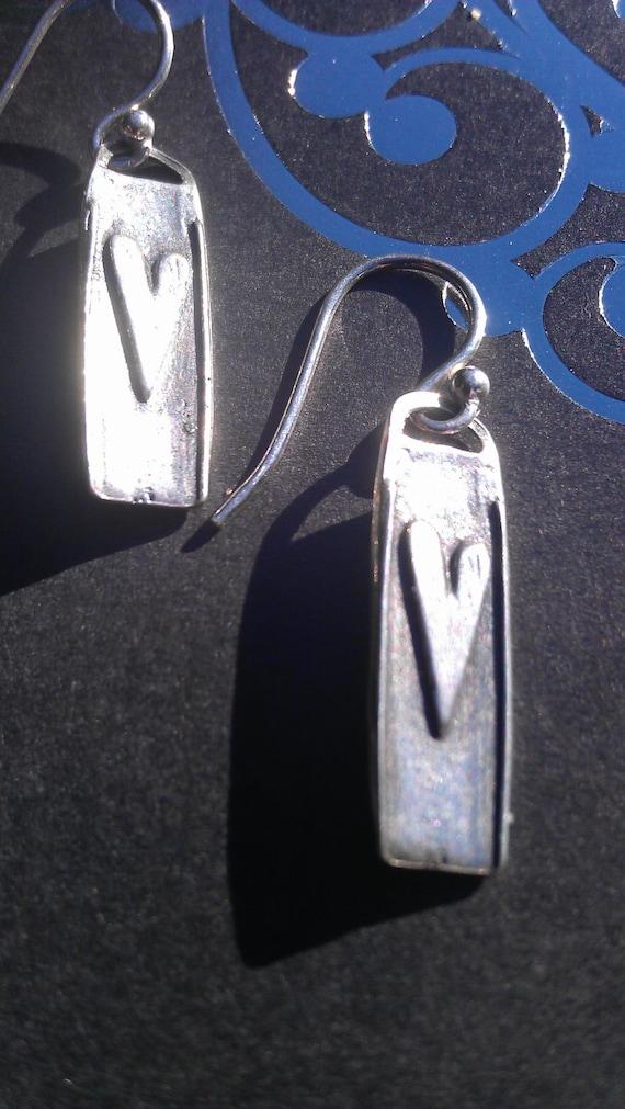 Handmade Sterling Silver Heart Earrings.
