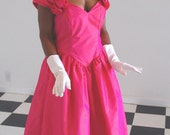 Pretty in Pink 1980s party dress, off-shoulder Iridescent pink taffeta with rose details