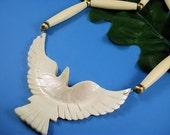 Vintage Carved Mother of Pearl Necklace Eagle in Flight Pendant