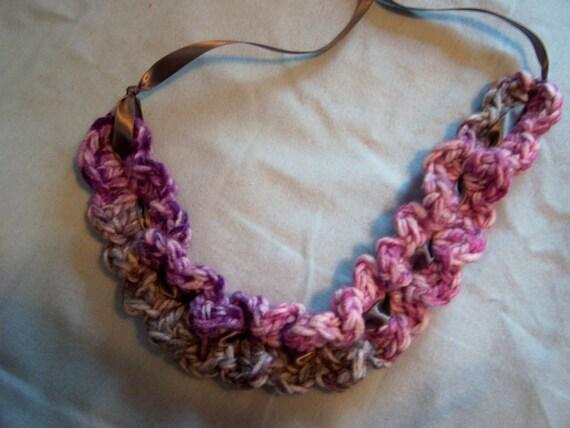 Purple & Gray Headband with ribbon