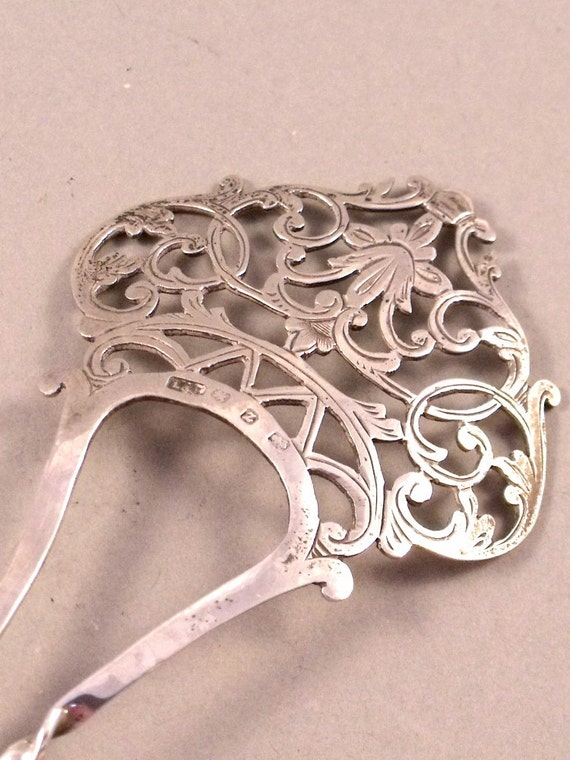 Antique Victorian Hallmarked Sterling Silver Hair Ornament Mantilla Comb Levi & Salaman 1899
