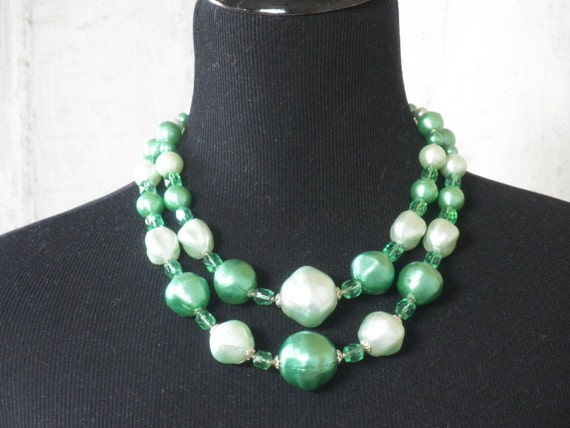 Vintage  1960's Necklace Baubles of Celadon and Mint Green.