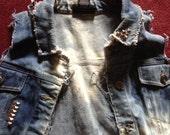Plus Size Destroyed Denim Vest Size XXL/2XL