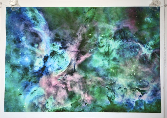 Astronomy Fabric Carina Nebula Green Blue Photograph on EQ Printable Cotton Fabric Sheet