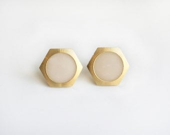 Large Clear white circle Geometric Hexagon stud earring