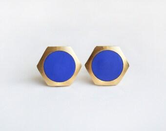 Blueberry circle Geometric Hexagon stud earring -Large-
