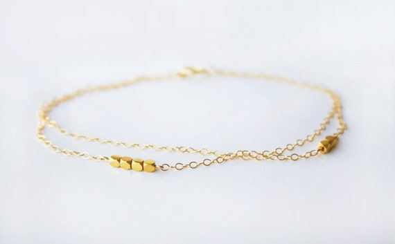 14k gold filled double layered bracelet with gold nuggets