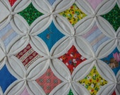 Vintage Cathedral Window Table Topper/Wall Quilt  13 3/4 X 13 3/4 inches