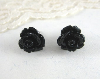 Black Rose Earrings - Rose Stud Earrings - Resin Post Earrings - Black Flower Earrings - Small Resin Rose Earrings