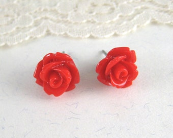Resin Stud Earrings - Red Rose Earrings - 10 mm Flower Earrings -  Post Flower Earrings - Bridesmaid Gift