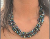 Boho Braided Peacock Bead Statement Necklace with Purple Glass Rondelles