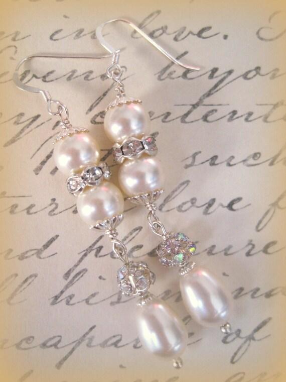 Swarovski Pearl and Crystal Drop Bridal Wedding Earrings