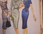 1950's McCall's 5095 Slim Dress Scoop Neckline Jackie Onassis Vintage Pattern UNCUT Size 14