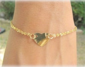 Gold heart bracelet, Small heart bracelet, hammered heart bracelet, dainty and romantic bracelet, gold bangle