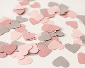 Small heart shaped confetti - light gray, baby and dusty pink