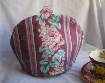 REDUCED PRICE Roses and Stripes Tea Cozy