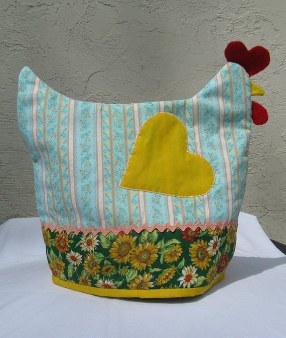 Stripes and Sunflowers Chicken Teapot Cover