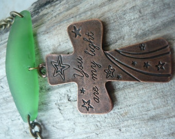 "Brass Cross and Bright Green Beach Glass Necklace ""You Are My Light"""