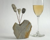 Small Abstract Heart Shaped Stone with Stone Flowers Sculpture